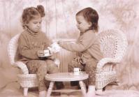 Emily and Rachel at tea