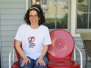 Angie on the new porch glider. :)