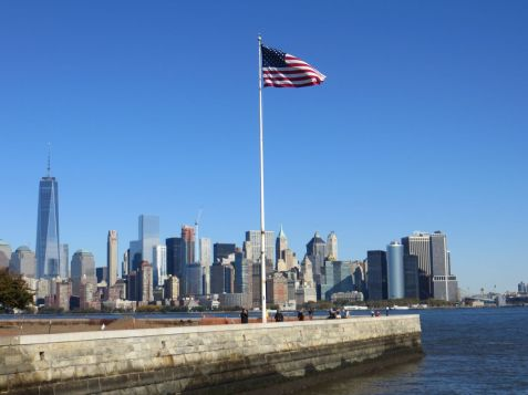 American flag Ellis Island